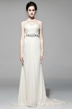 Jewel Lace Chapel Train see-through Wedding Dresses Backless nw-0105