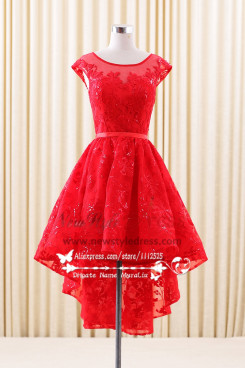 Lace Homecoming desses high low Red A-Line short dress