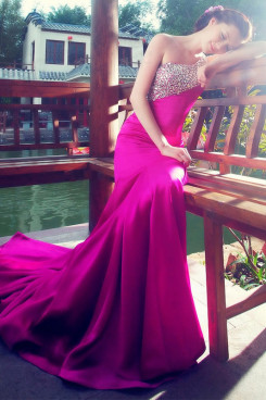 2014 New Arrival One Shoulder Mermaid Glass Drill Satin Prom Dresses Chapel Train np-0228