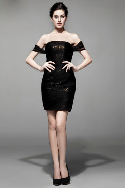 2019 New Style Black Short Prom Dresses Sequins Under nm-0190