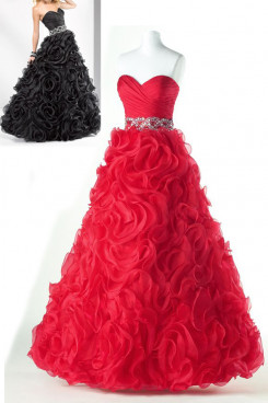 red or black a-line Ruffles Flower Sweetheart Elegant prom dresses np-0178