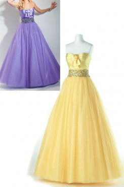 Lavender Tulle a-line Strapless Floor-Length Belt Glass Drill Prom np-0151