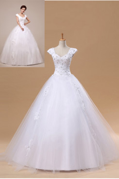 Ball Gown Floor-Length Lace Up Off the Shoulder Back with a bow Wedding dresses nw-0043