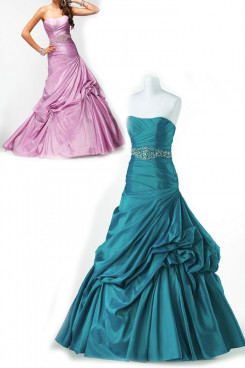 navy green or Red Ruched ball gown prom dresses with Beading Belt np-0161