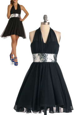 Black Chiffon Halter A-Line Custom Cocktail dresses with Sequins Belt nm-0159