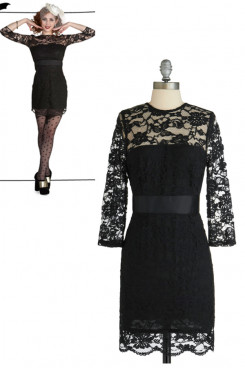 black lace 34-length Sleeves Sexy Custom Party Dresses nm-0160