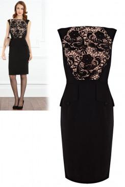 Black Above Knee Above The Waist lace Elegant Bateau Evening Dresses np-0067