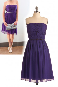 Custom Purple Chiffon Strapless Knee-Length Under $100 Bridesmaids Dresses nm-0146