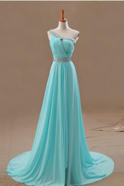 Blue One Shoulder Sequins Draped Brush Train prom dress np-0254
