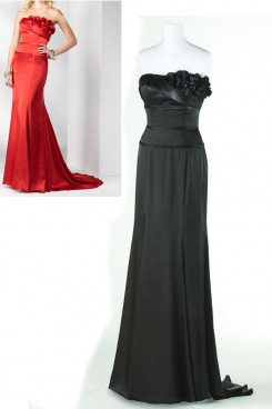 black or red Chiffon Brush Train Evening Dresses with Chest With Flower np-0164