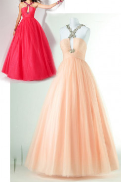 Champagne or red ball gown Halter Tulle Floor-Length prom dresses np-0163