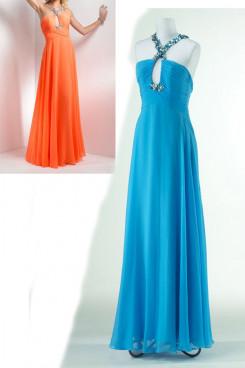 blue or Orange Chiffon Floor-Length Chest Criss-Cross Summer Popular Evening dresses np-0171