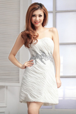 Strapless Crystal Overall creases short Cocktail Dresses np-0245