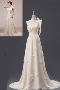 One Shoulder Brush Train a-line Empire Glamorous Chiffon Chest With flower Wedding dresses