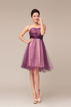 Grape Strapless Knee-Length Ruched under 100 Bridesmaids Dresses np-0233