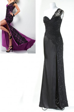 black or red Hi-Lo Side black lace Elegant One Shoulder Prom Dresses np-0165