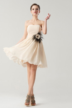Strapless Chiffon Short Feathers Bridesmaids Dresses Under 100 nm-0177