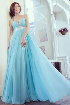 Light Sky Blue Spaghetti V-neck Empire long prom dress np-0241