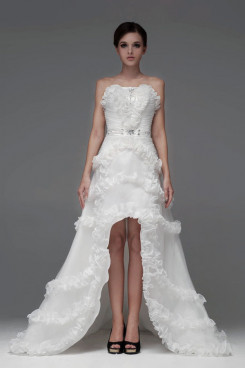 Front Short Long Back Chapel Train Bow Ruffles Wedding Dresses