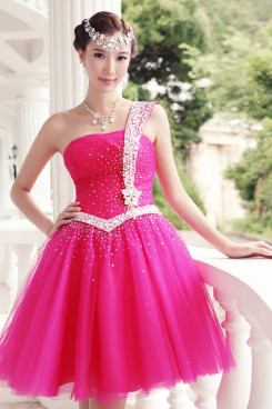 One Shoulder Ball Gown Short rose red Cocktail Dresses With Glass Drill np-0227