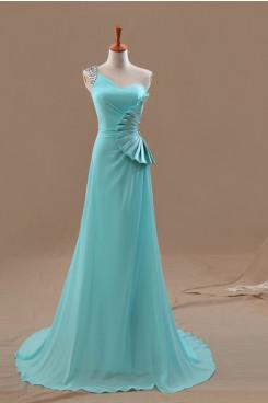 One Shoulder Light Sky Blue Chiffon Fan-shaped flower prom dresses np-0253