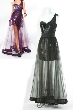 balck or Grape Tulle One Shoulder Sequined hip package Elegant Prom np-0153