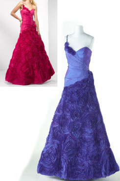 blue or Crimson One Shoulder V-neck a-line Flower prom dresses np-0176