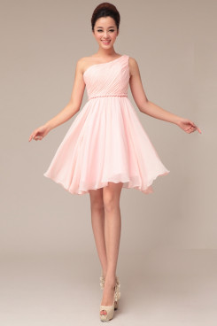 under $100 Pearl Pink One Shoulder Chiffon Knee-Length cheap prom Dress np-0234