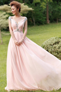Portait Pink Chiffon Prom Dresses Chest With Pleats Glass Drill np-0224