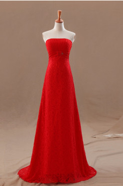 red lace Strapless Empire Brush Train Elegant prom dresses np-0212