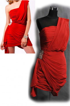 Red One Shoulder Side Embroidery Sequins Unique Overall Pleat Homecoming Dresses nm-0149