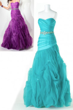 blue or Grape Strapless a-line Ruched Elegant New Arrival prom dresses np-0179