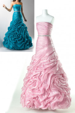 Pearl Pink or green Ruched Strapless ball gowns prom dresses np-0172