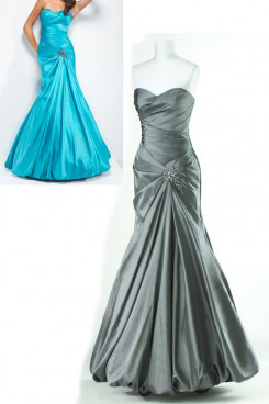 Blue or Silver Sweetheart Chest With Pleats Floor-Length Ruffles Prom Dresses np-0152