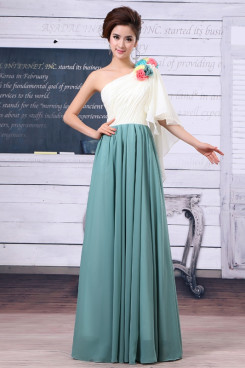 Sage One Shoulder Bump the color Handmade flower Chiffon Prom Dresses np-0256