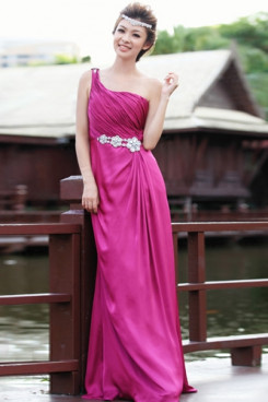 One Shoulder Satin Fuchsia Prom Dresses Chest With Pleats np-0223