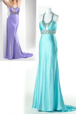 Light Sky Blue or Lavender Satin Halter Brush Train Unique Evening Dresses np-0168