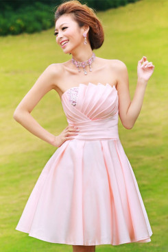 Satin Pink Short skirt Bridesmaids Dresses Under $100 np-0226