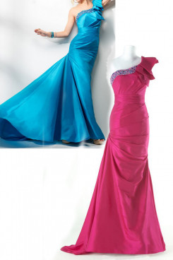 Blue or red Satin One Shoulder Brush Train Ruched Elegant Evening Dresses np-0160