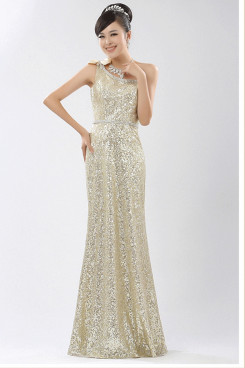 Silvery white Sequins Sheath Prom Dresses nm-0203