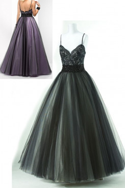 Spaghetti Chest V-neck Appliques a-line Tulle Floor-Length black or purple np-0154