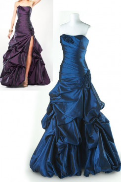 Purple or Blue Satin Strapless Slit Floor-Length a-line Ruffles Evening Dresses np-0149