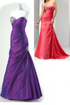 Purple or red Taffeta Sweetheart a-line Chest With beading prom dresses np-0158