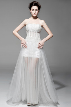 Sweetheart A-Line see-through Chest With beading under 200 Wedding Dresses nw-0100