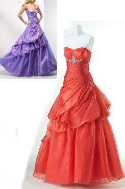 red or Purple Sweetheart Tiered Ruched Fall Popular prom dresses np-0170