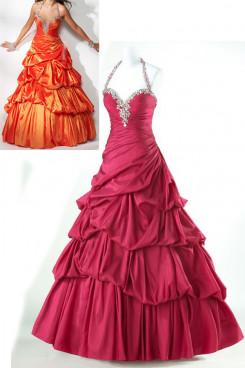 Crimson or Orange Taffeta Halter Sweetheart Ruched prom dresses np-0180