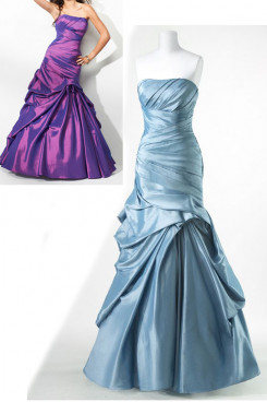 Silver blue or Red Taffeta Strapless Ruched ball gown prom dresses np-0169