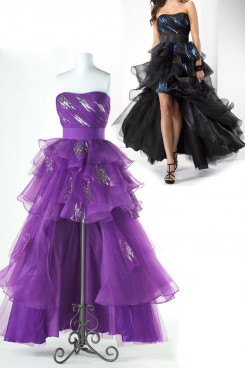 Lilac or black Tiered Ruffles Hi-Lo Strapless prom dresses np-0157