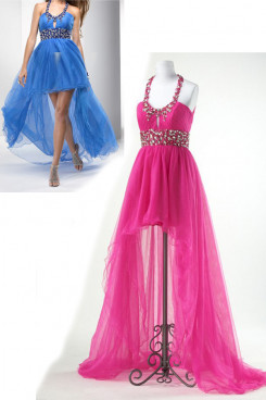 Fuchsia or blue tulle Halter Front Short Long Back Cocktail Dresses np-0177