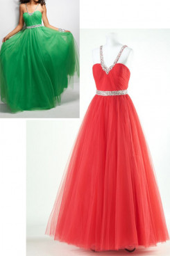 red or green Halter a-line tulle Sweetheart Ankle-Length prom dresses Belt With beading np-0167